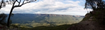 Panoramic views from a lookout and fantastic, highly-recommended campsite somewhere towards the middle of Mt Solitary's plateau.